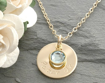 """Hand Stamped Gold-filled Mommy Necklace - One 5/8"""" round discs with birthstones"""