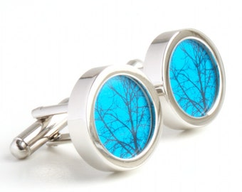Abstract Tree Cufflinks on a Teal Background PC402
