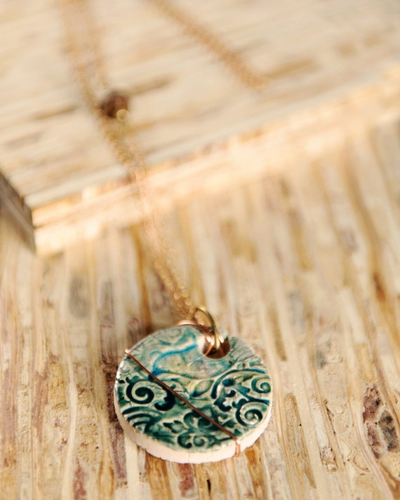 Ceramic necklace, turquoise bird pendant, round handmade ceramic necklace- Poetic Justice