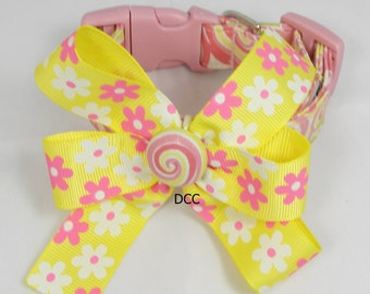 Dog Collar Swirls Pink Green Yellow White w Flower Ribbon Bow CHOOSE SIZE Adjustable Dog Collar D Ring Accessory Accessories Pet Pets