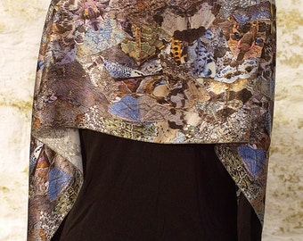 Grey Moth Collage Silk Crepe Satin Scarf