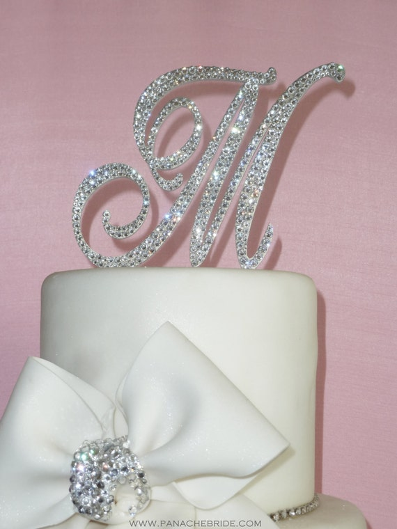 swarovski crystal monogram wedding cake toppers letter as seen on tlc s four weddings monogram cake by panachebride 20676