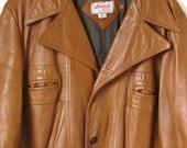 Vintage Leather Jacket // Men's Leather Coat // Light Brown Leather // Patchwork // Lined // 1970's // 46 L
