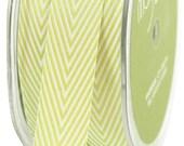 1 yd - CELERY Twill Stripes Chevron  - 3/4-Inch Wide Ribbon - May Arts