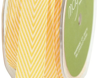 1 yd - YELLOW Twill Stripes Chevron  - 3/4-Inch Wide Ribbon - May Arts