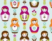 Little Matryoshka Doll Cotton Fabric - AQUA MAIN  - Riley Blake - One Yard