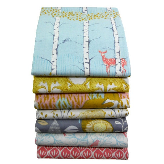 Fat Quarter Bundle - TIMBER & LEAF - Coral and Gold - Sarah Watts for Blend Fabrics - 7 pcs