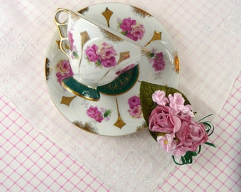SALE Vtg Pink Roses Footed Tea Cup & Saucer with Vintage Linen Hankie and Millinery Pink Roses Corsage Brooch Mothers Day Gift Set
