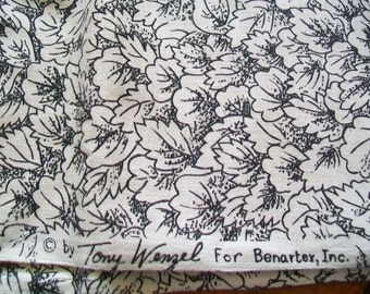 Fabric Destash - Forest Green Leaf Print by Tony Wensel for Benartex Fabrics