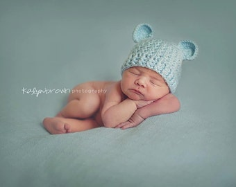 Crochet Baby Bear Beanie Hat - Newborn to 12 months - Soft Blue - MADE TO ORDER