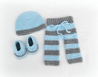 Crochet Baby Beanie, Pants and Loafers 3 Piece Set Newborn Soft Blue/Heather Grey MADE TO ORDER