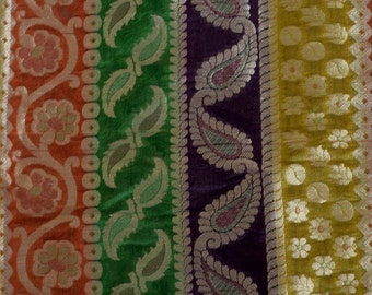 Indian brocade - Golden paisley and creeper  on orange, green ,purple and mustard back ground