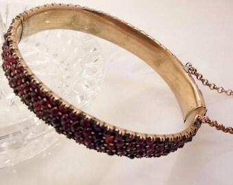 Antique Victorian Bohemian Garnet Bangle Bracelet 4 Rows Rose Cut Garnets