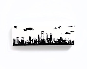 Philadelphia Skyline II Canvas (12 x 4 inches, White w/ Black) Screenprint/Painting, Philadelphia Wall Art
