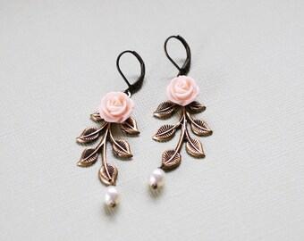 Leaf Earrings. Peach Pink Flower Antiqued Brass Leaf Branch Swarovski Cream Pearl Dangle Earrings, Woodland Wedding Bridal Jewelry