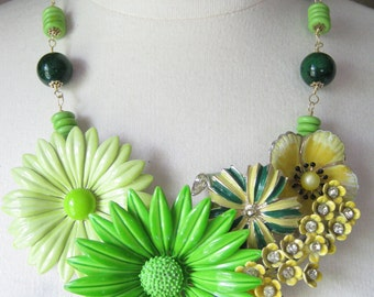 Statement Necklace, Vintage Enamel Flower, Wedding Necklace, Upcycled,  Green, Yellow, Jade, Lemon, Lime, Rhinestone,  OOAK - Green Gardens
