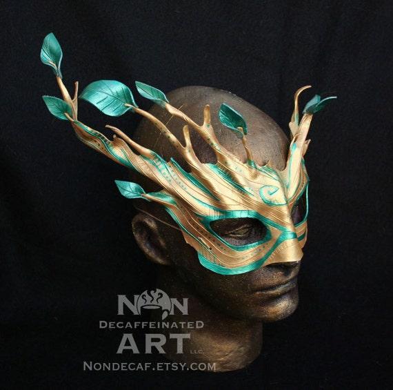 Golden Dryad Mask - Tree Spirit leather mask