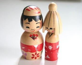 Koibito - 1 Couple Pair of Wooden Japanese Kokeshi doll