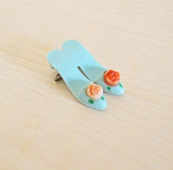 SUMMER SALE Delightful Vintage Shoe Brooch Pin Miniature Feminine Jewelry Pair of Heels Plastic Celluloid Baby Blue Flower Pink Red