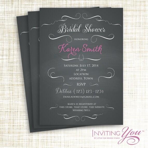 Chalkboard Bridal Shower Invitation Printable Digital File OR