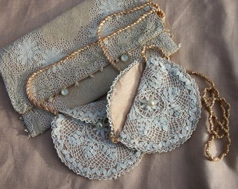 Pair of Bridesmaid Purses from Vintage Silk and Repurposed lace