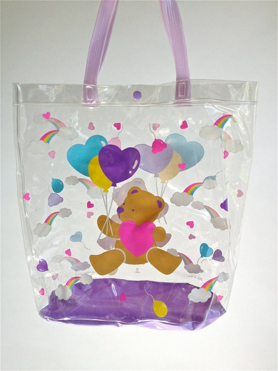 Sanrio // 1988 Vintage Clear Kawaii Purse Tote with Rainbow Balloon Hearts Bear