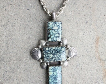 Vintage 70's/80's Navajo Archie Martinez Sterling Silver and Tortoise Turquoise Cross Pendant with Sterling Silver Rope Chain