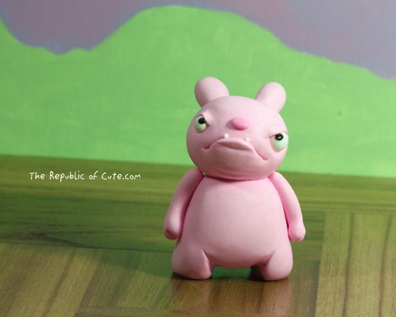 Evil Pink Bunny Figurine - Fun Original Sculpture - Offbeat Desk Toy - Gift Box and Card Included