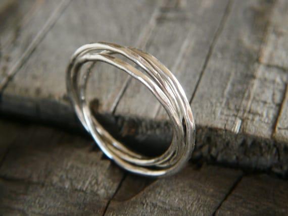 interlocking rings sterling silver rolling by