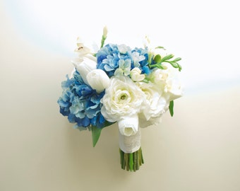 Real Touch Blue Hydrangea Bouquet with White Tulips, White Ranunculus, White Freesia