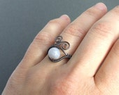 Blue lace agate ring, copper rustic jewelry, healing stone gift for her