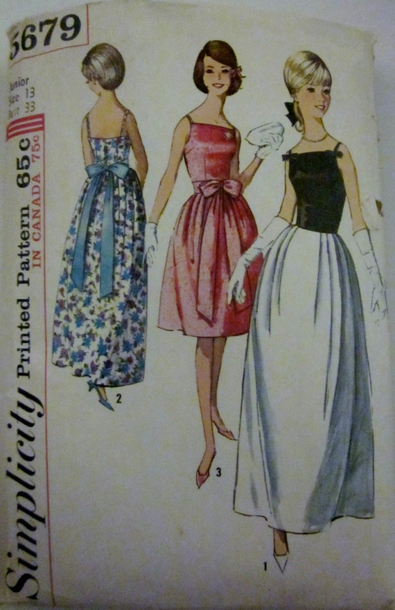 Simplicity 5679 Womens Evening Dress 1960s Pattern