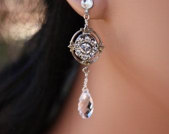 RHINESTONE BRIDAL EARRINGS  with Swarovski Crystals in a Vintage Look