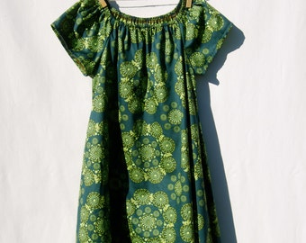 Peasant Dress for Girls - Emerald Green - Organic Cotton - Eco Friendly - Organic Clothing
