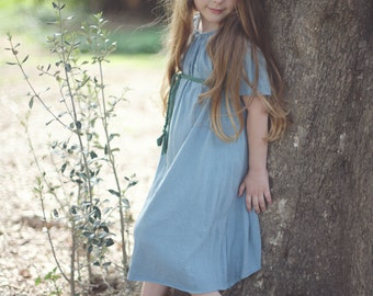 Flower Girl Peasant Dress - Girls Dress - Organic Clothing - Eco Friendly - Pale Blue - Several Colors