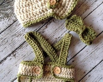 Little Man Suit in Wheat and Olive Green with Matching Diaper Cover, Suspenders and Bow Tie Available in 3 Sizes- MADE TO ORDER