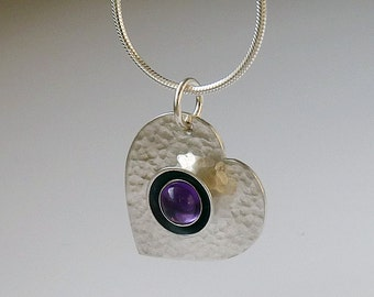 Sterling silver heart  necklace with amethyst. Silver heart pendant. Silver jewellery. Handmade. MADE TO ORDER.