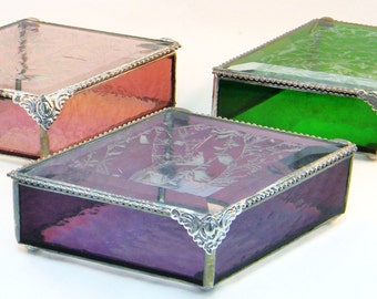 4 x 7 Diamond Boxes, Bridesmaid Gift Set of 6, Stained Glass Jewelry Boxes, Bridal Attendant Gift Set, Bridesmaid Jewelry Boxes
