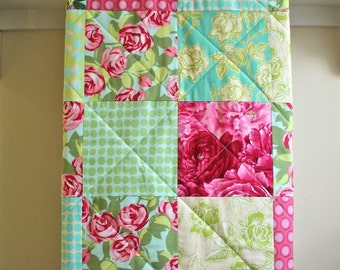Baby Quilt Girl Floral, Modern, Minky Back, Shower Gift, Pink, Turquoise, Green, Handmade, Baby Bedding, Nursery Bedding - Red Roses