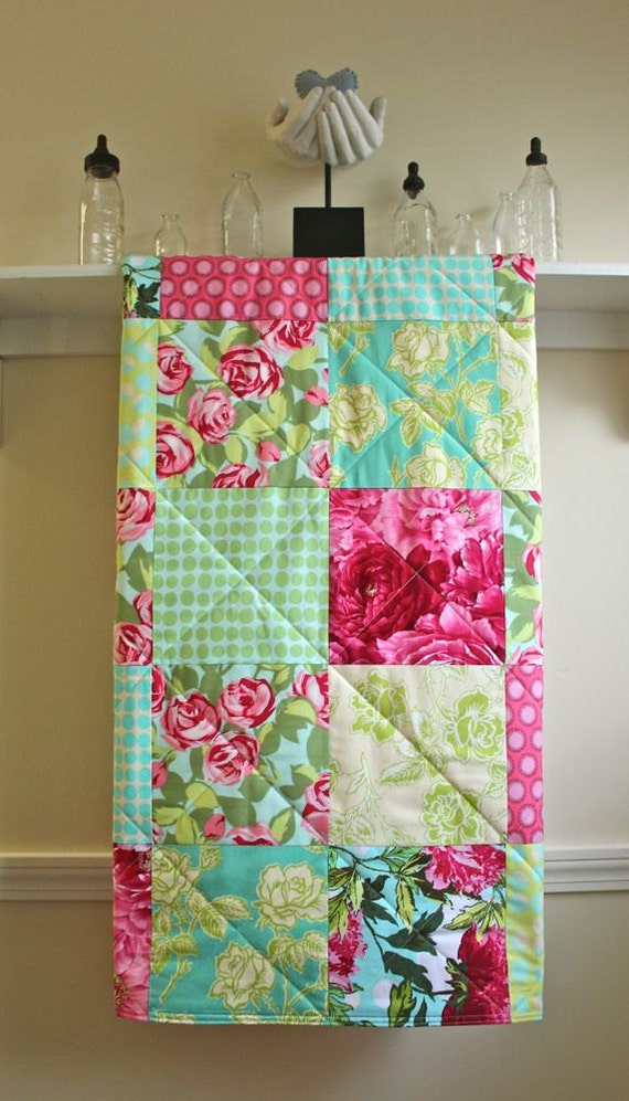 Baby Quilt Girl - Red Roses - Flannel or Minky Back -  Pink, Turquoise, Cream, and Green - Homemade Toddler Quilt