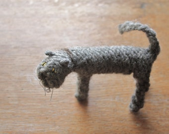 Large knitted cat, charcoal grey