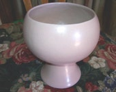 Vintage 1960's Frankoma GRACETONE pottery Matte CHAMPAGNE PINK pedestal planter no. 331, red clay, Mid Century vase