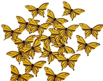 20 Yellow Butterfly scrapbook embellishments - No795