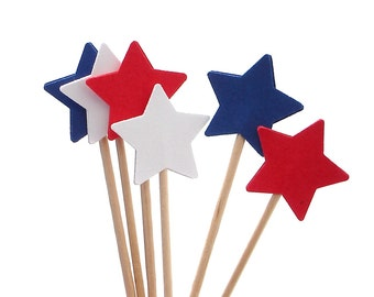 24 4th of July Star Cupcake Toppers, Food Picks, Sandwich Picks, Toothpicks - No983