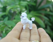 Miniature art - Tiny crochet amigurumi - Dollhouse stuffed animal - White Poodle -  1.2 inch