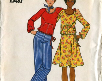 Butterick 4074 Junior Skirt Top Pants Kangaroo Pocket Sewing Pattern B32