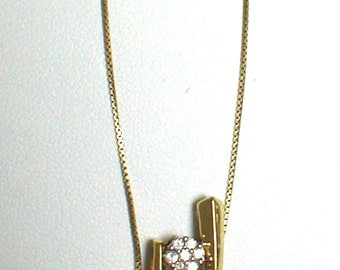 Necklace - Vintage GP/SS Bars with Diamond's