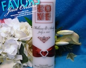 Unity Candle With Tapers Love Design - 12 colors available