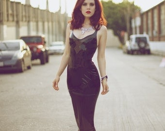 Deco full length latex gown dress