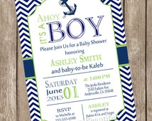 Chevron Ahoy it's a boy baby shower invitation, lime green, navy, anchor, nautical, printable invitation